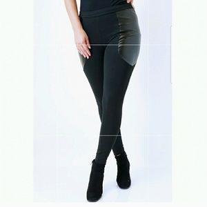 Pants - Trendy Black Leggings-Faux Leather Panels